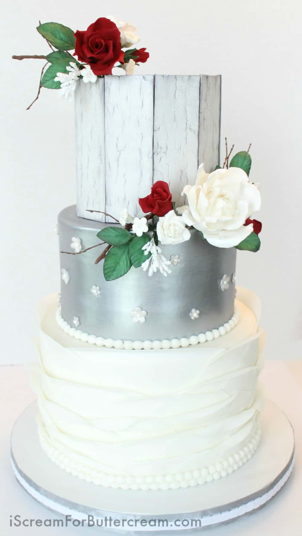 Elegant Rustic Silver Wedding Cake - I Scream for Buttercream