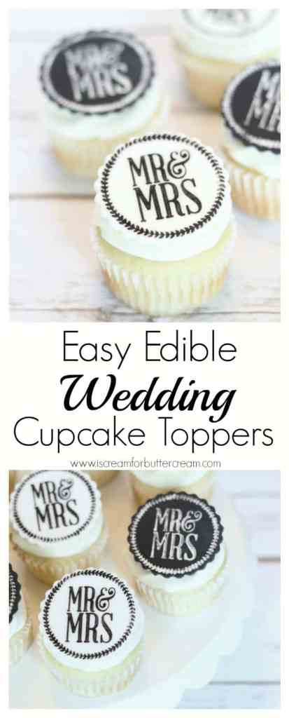 Easy Edible Wedding Cupcake Toppers Pinterest Graphic