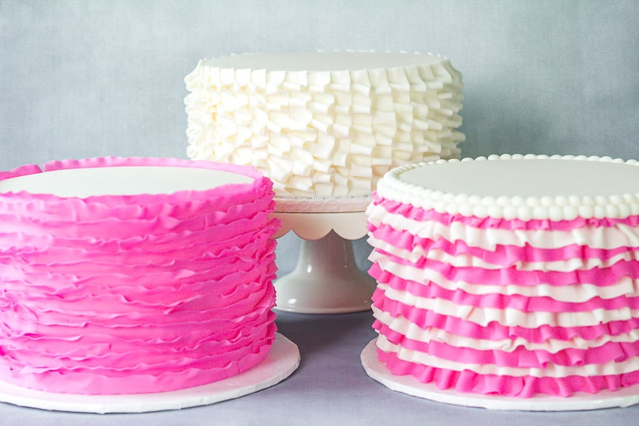 pink and white fondant ruffle cakes