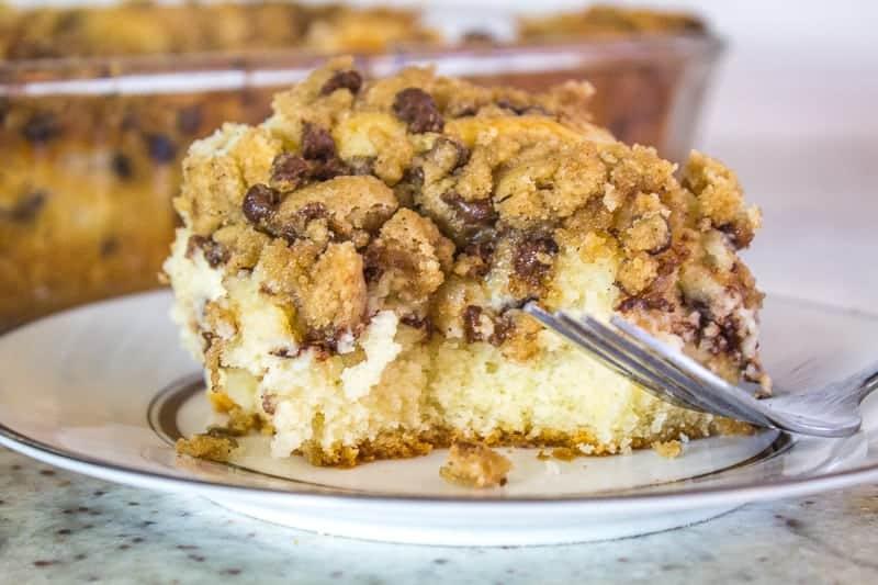 Slice of Cannoli Crumb Cake