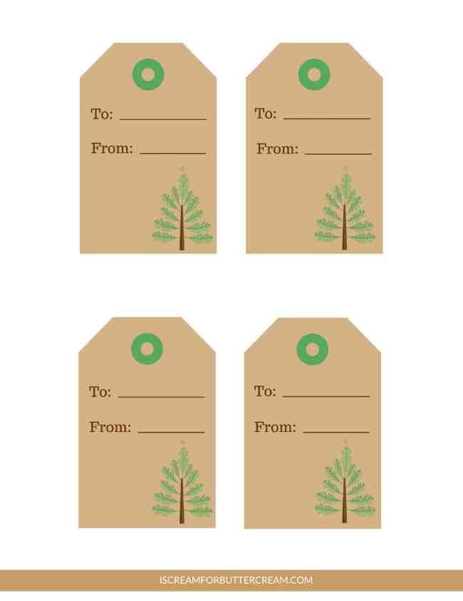 Free Printable Tags for Food Gifts brown Christmas tree tags