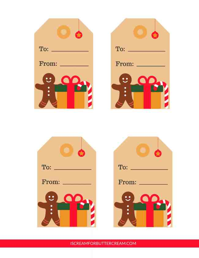 Free Printable Tags for Food Gifts Gingerbread Man Tags
