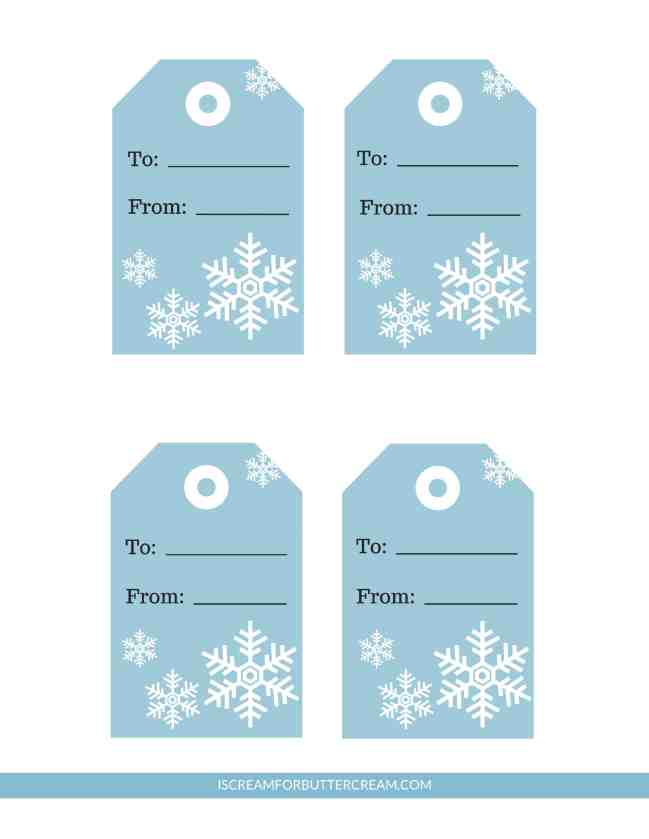 Free Printable Tags for Food Gifts Blue Snowflake Tags