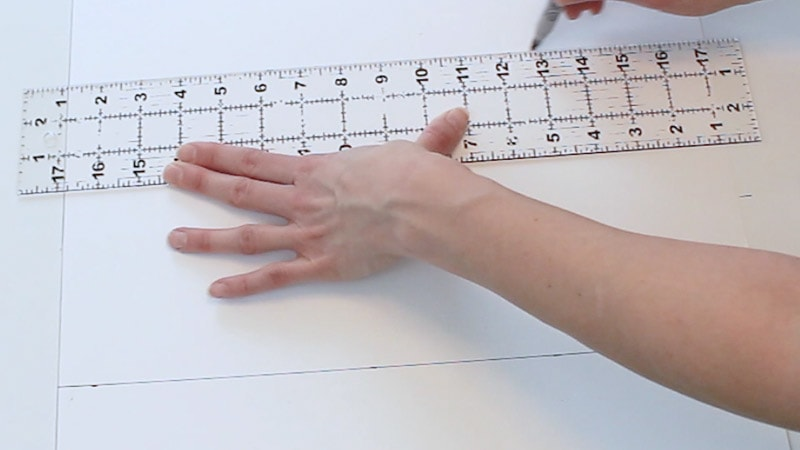 draw a line connecting the measurements on poster board