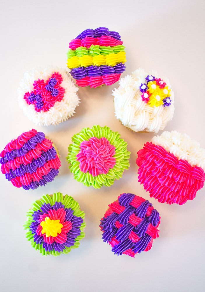 Brightly colored cupcakes