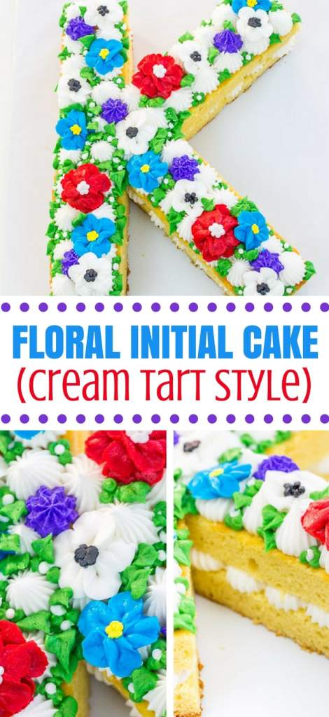 Floral Initial Cake Pinterest Graphic