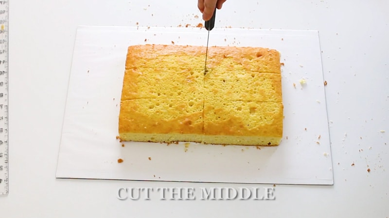 Cut cake into sections