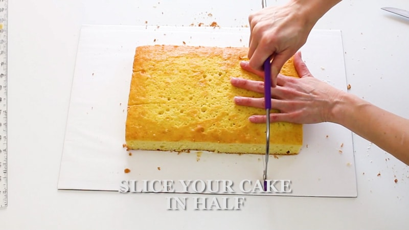 leveling a large cake layer