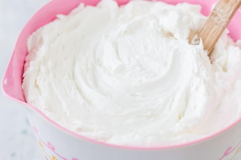 bright white buttercream in a bowl