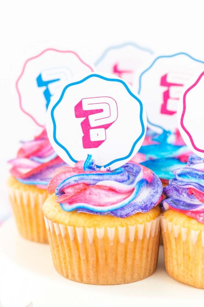 Gender Reveal Cupcake Toppers with Bright Toppers Close up