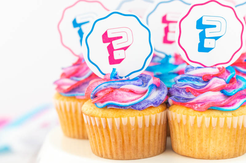 Gender Reveal Cupcake Toppers with Bright Toppers