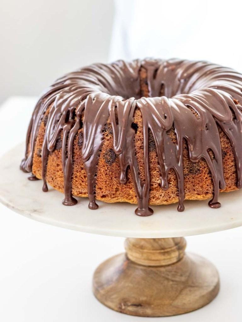 Chocolate Chip Cake on a cake plate
