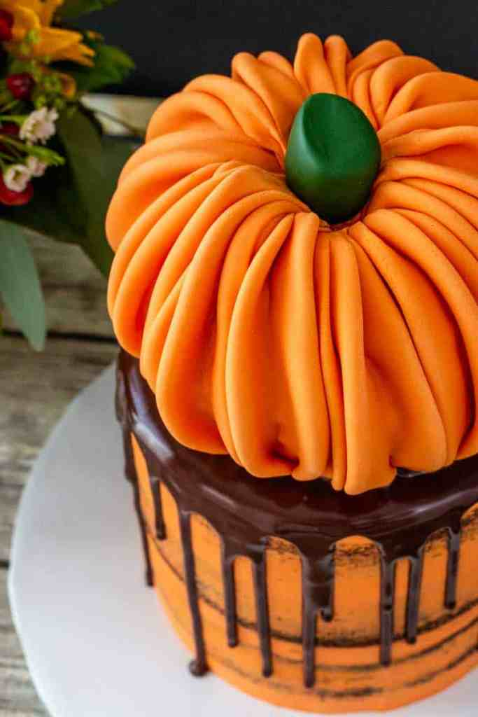 Top view of pumpkin topped cake