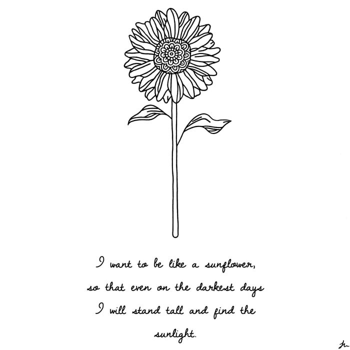 sunflower art and quote