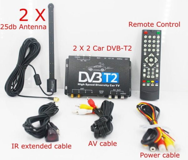 2X2 Two tuner antenna car DVB-T2 Diversity High Speed Russia Thailand 1 -