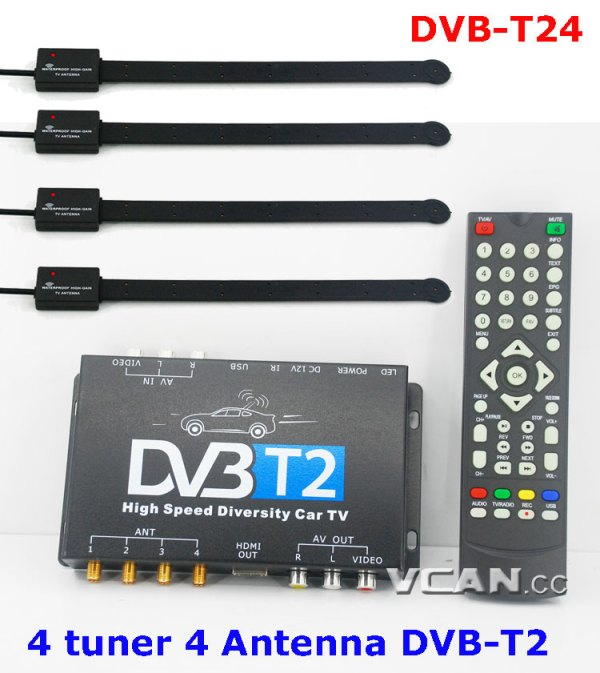 DVB-T24 Car DVB-T2 TV Receiver 4 Tuner 4 Antenna 6 -
