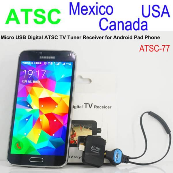 ATSC USB TV stick mobile phone use tuner USA Canada Mexico micro usb android phone pad ATSC-77 1 -