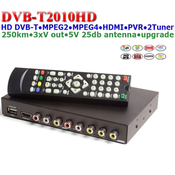Car DVB-T Receiver MPEG4 H.264 2 tuner 2 diversity antenna Booster Recorder DVBT 1 -
