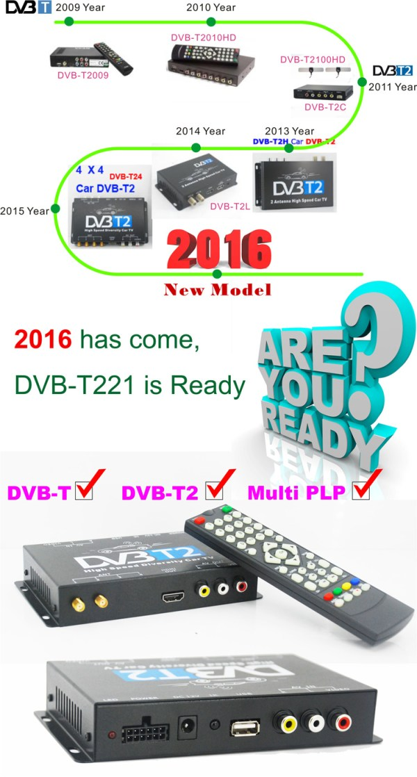 Mobil DVB-T2 Indonesia DVB-T High Speed Digital TV Receiver automobile DTV box DVB-T221 8 -