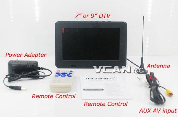 7 DVB-T2 7 inch Digital TV monitor Analog TV USB TF MP5 player AV in Rechargeable Battery 6 -