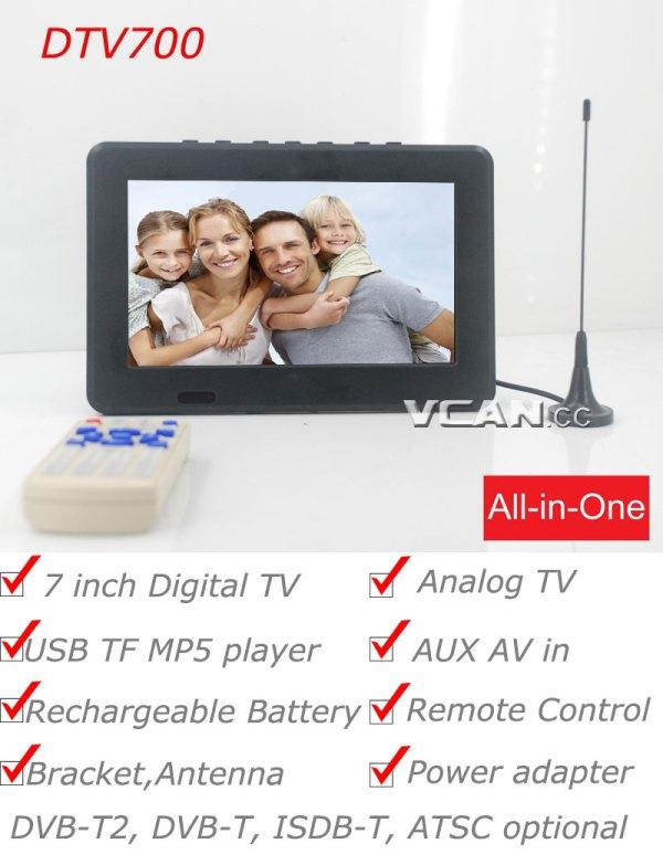 7 DVB-T2 7 inch Digital TV monitor Analog TV USB TF MP5 player AV in Rechargeable Battery 1 -