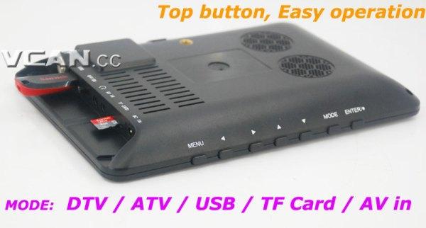 DTV900 DVB-T2 DVB-T ATSC ISDB-T 9 inch Digital TV Analog TV USB TF MP5 player AV in Rechargeable Battery 4 -