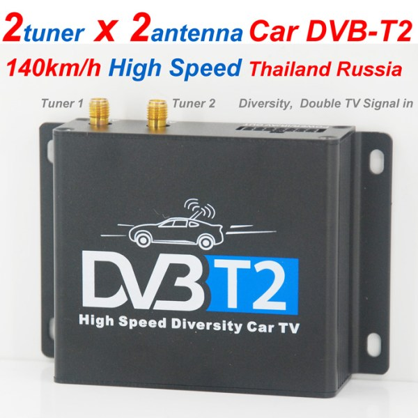 Car DVB-T2 Digital TV receiver two tuner dual antenna  high speed 1 -