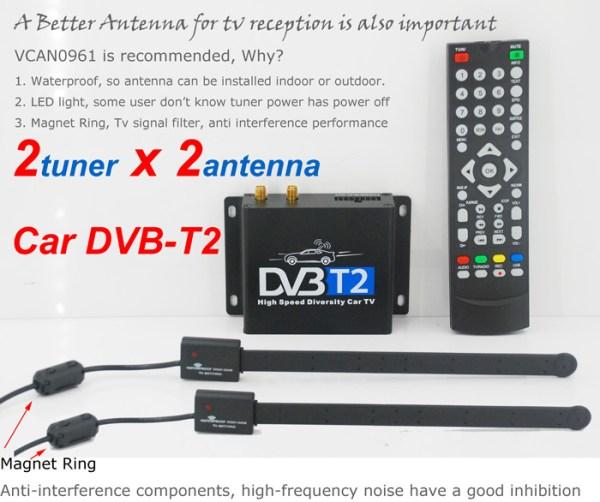 Car DVB-T2 Digital TV receiver two tuner dual antenna high speed 2 -