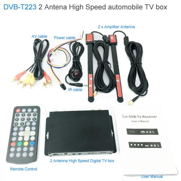 Car DVB-T2 DVB-T Multi PLP Digital TV Receiver 2 Antenna Diversity Dual Aerial H264 MPEG4 HD High Speed FTA STB 2 -