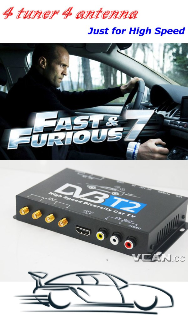 Car DVB-T2 4 Tuner 4 Antenna Digital TV Receiver for High speed auto mobile with USB movie player HDMI out HDTV DVB-T24 10 -