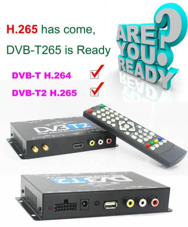Germany DVB-T2 H.265 HEVC Codec New Model DVB-T265 auto mobile digital car dvb-t2 tv receiver 4 -