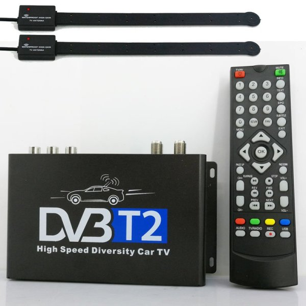 Car DVB-T2 H265 HEVC Codec Digital TV Receiver Auto Mobile Germany Standard 2 antenna H264 HD for all dvb country 7 -