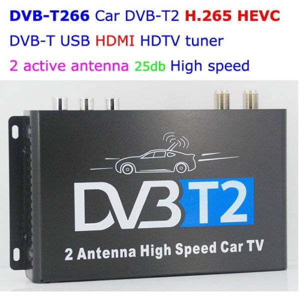Car DVB-T2 H265 HEVC Codec Digital TV Receiver Auto Mobile Germany Standard 2 antenna H264 HD for all dvb country 1 -