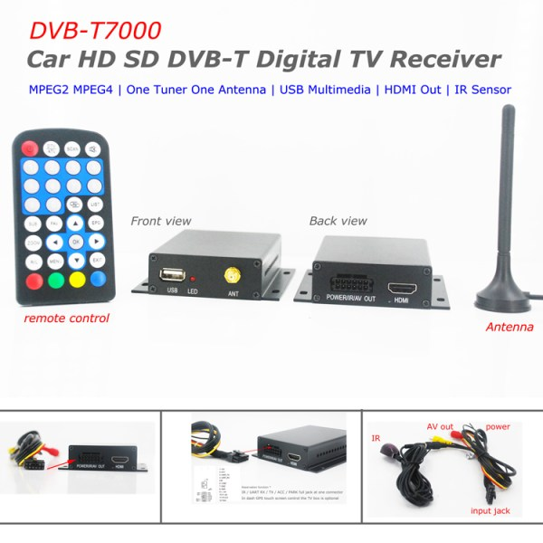One tuner One antenna car DVB-T tv receiver MPEG4  DVB-T7000 1 -