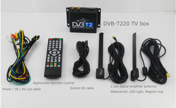 Car DVB-T2 Digital TV receiver two tuner dual antenna  high speed 6 -
