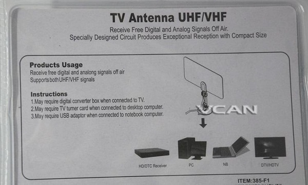 VCAN0992 Digital TV DVB-T2 UHF/VHF Flat antenna and  No extra power required for home use 5 -