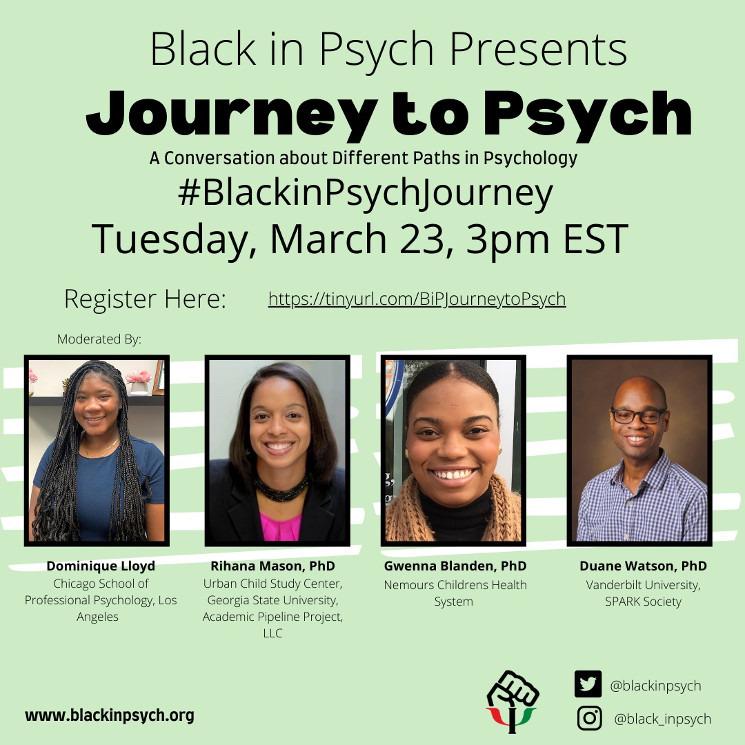 Black in Psych Week's panel discussions. Today, Tuesday, March 23rd at 3 pm EST