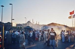 Istanbul crowded square smoke