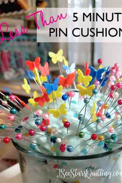 How cute is this pin cushion? love how simple it is to DIY this with things around the house! www.iseestarsquilting.com Easy Sewing Project