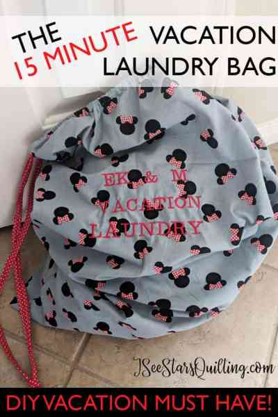 This darling vacation Laundry bag will take no more than 15 minutes of your time and will be a Sanity saver on your trips!