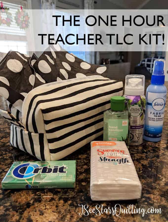 DIY TLC Teacher Kit - This Zipper Box tote comes together in less than an hour! Fill it with goodies and take care of your teachers #teachergift #ZipperBoxtote #easygift