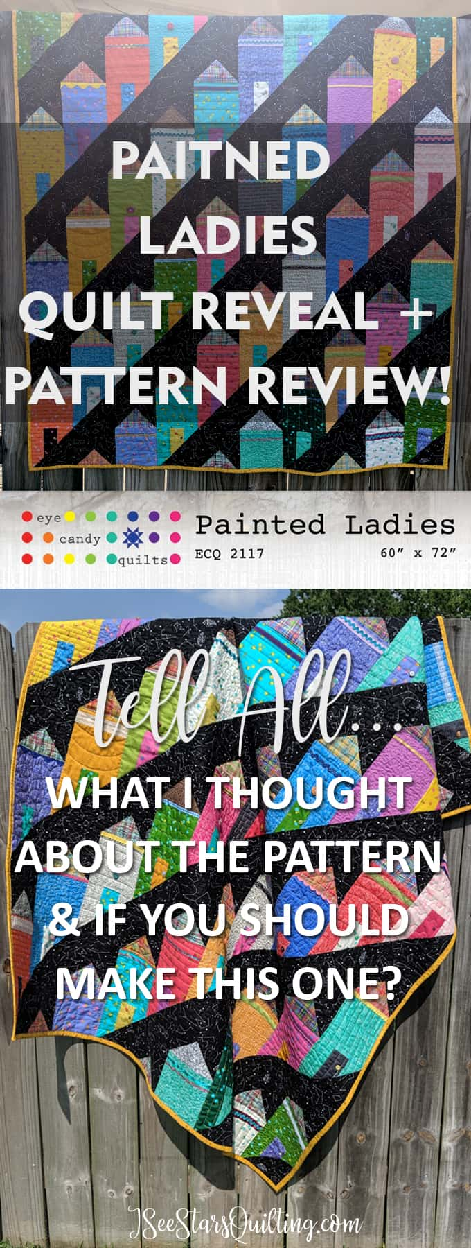 A full review of the Painted Ladies Quilt Pattern - what I liked and didn't like - as well as LOTS of photos of the finished quilt. Fabric Line is from Alison Glass