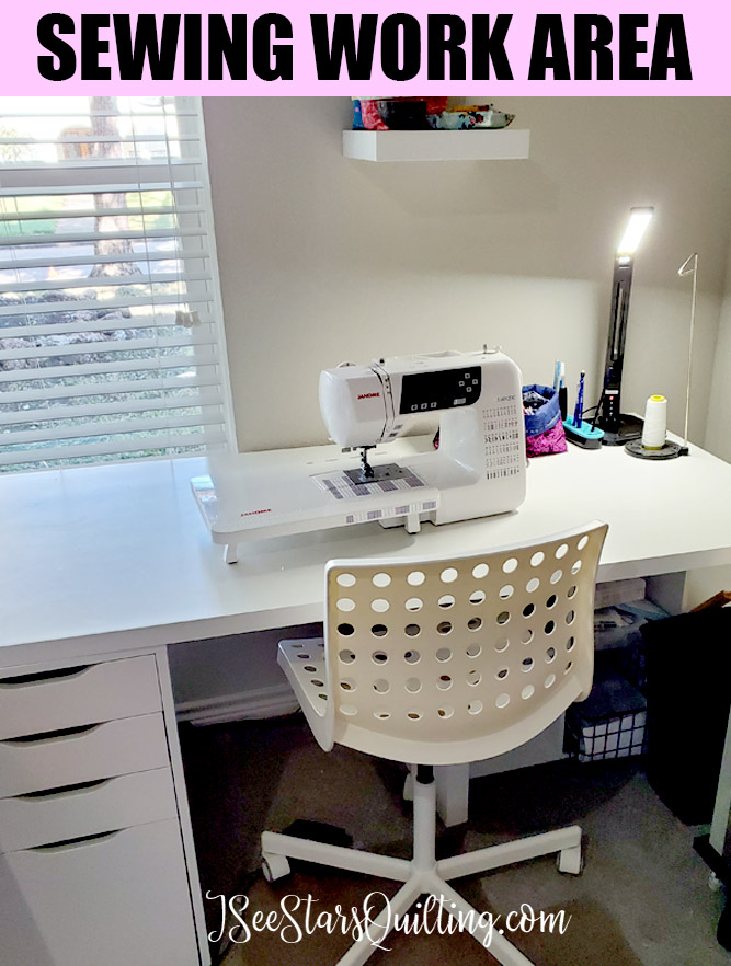 image of my sewing work area with clean workspace.