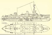 Official plan of Danish Coastal defence ship Niels Juel, launched 1918, serving 1923 - 1943.