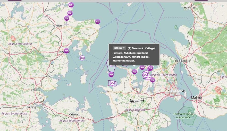 Efterretninger for søfarende - Digitalt kort fra Søfartsstyrelsen
