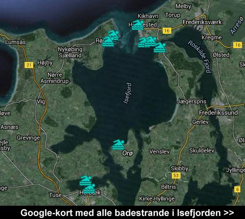 Google-kort med alle badestrande i Isefjorden