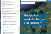 Google-kort med alle færger i Isefjorden. Udarbejdet af Isefjorden.com