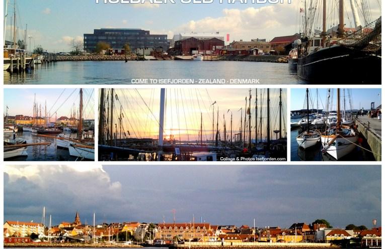 Collage med fotos fra Holbæk gammel havn