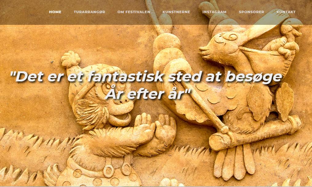 Skærmbillede af hjemmesiden Hundested sandskulpturfestival 2018