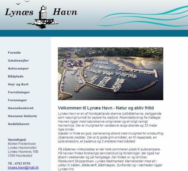 Skærmbillede af Lynæs havn's hjemmeside